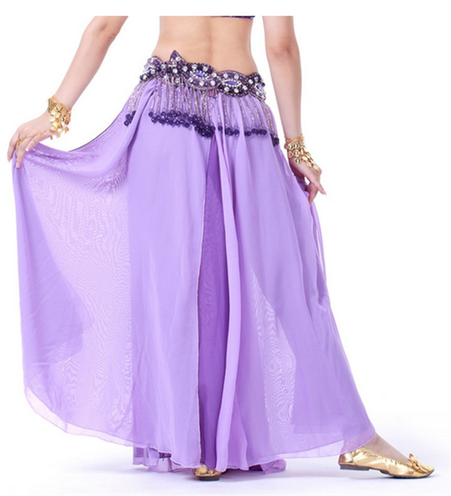 Dreamspell Pure Light Purple Chiffon Long Double-slit skirt by Dreamspell