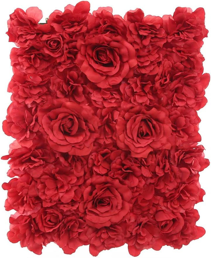 Blush Blooms Premium Decorative Flower Panels Handmade with Artificial Silk Flowers   Wall Decor, Flower Walls, Backdrops, Weddings, Bridal Showers, Baby Showers, and Event Decor (Red)