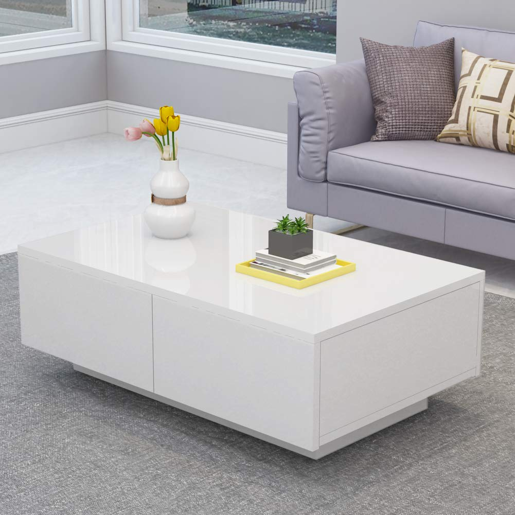 High Gloss Coffee Table, Modern White Rectangle Cocktail Table Sofa Table with 4 Drawers for Office, Livingroom by Cocoarm