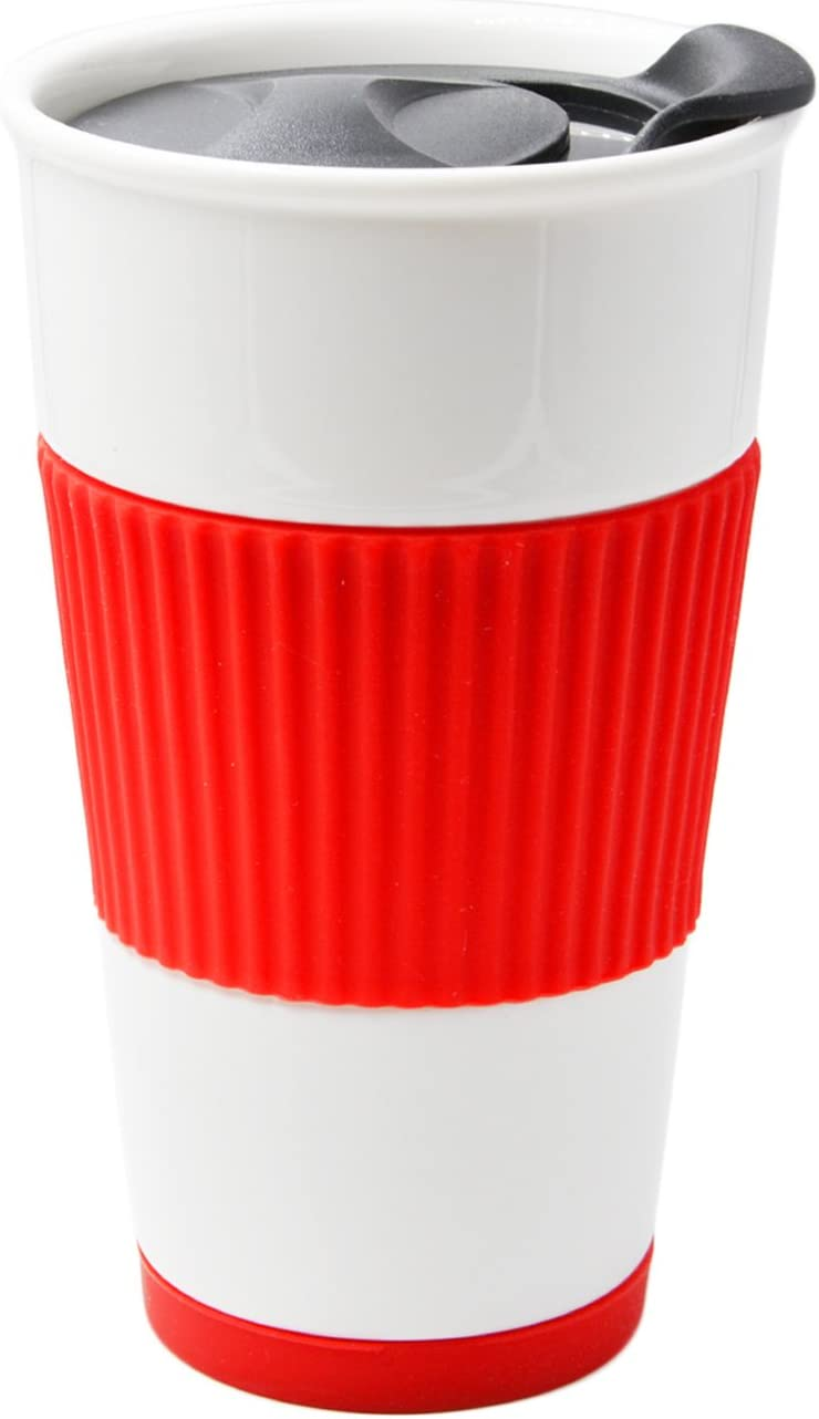 UDMG Ceramic Double Wall Insulated Travel Coffee Cup with Slider Lid, Silicone Sleeve & Built-In Coaster, 10 fl.oz (Red)
