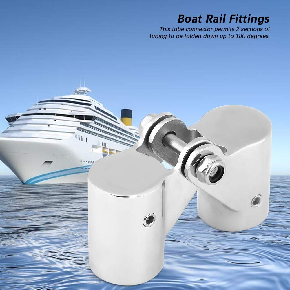 Stainless Steel Folding Swivel Connector Boat Rail Tube Pipe Fittings for Marine Yacht Aramox Boat Tube Connector 25mm EX-Diameter