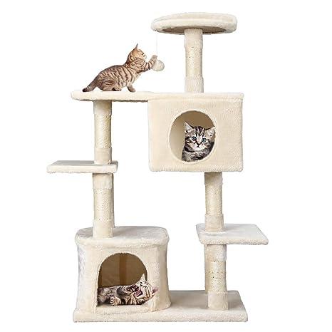Petonaut Árbol para Gato con Rascador Gatos, Juguetes para Gatos de Plataformas Bolas de Juego Sisal Natural,Beige (117cm)