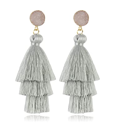 80ba3a8c1 Layered Tassel Earrings Bohemian Dangle Drop Tiered Tassel Druzy Shell  Healing Crystal Quartz Stud Earrings for