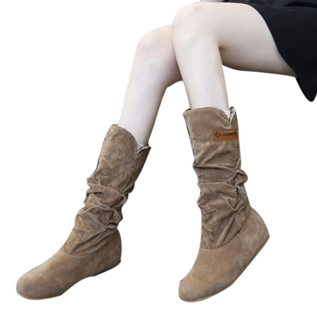 Femmes Chaussures, Sonnena Femmes Fille Bottes Mode Casual Genou Bottes Plates Talon Plat Nubuck Moto Botte Automne Hiver Chaussures Bout Round Flock Solide Shoes