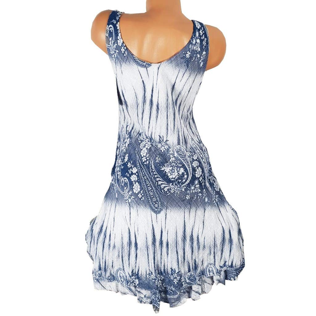 amousa Women Layered Print Mini Dress Boho O Neck Loose Sleeveless Casual Fitting Ruffle Bottom Short Party Club Dresses