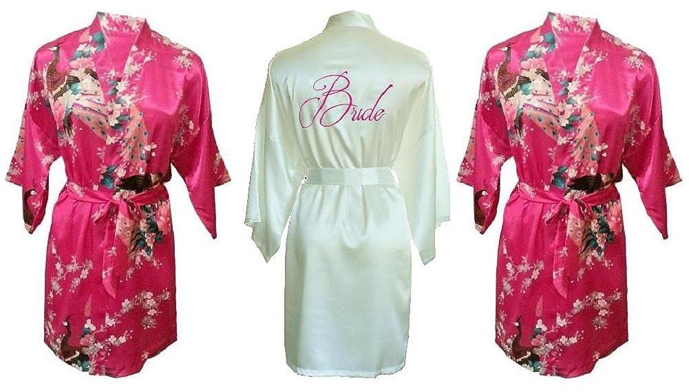Fete Fabulous Juego de 3 Satinado Kimono Bata/Robes- 1 Marfil Bordado Bride y 2, diseño de Pavo Real/de Regalo de Boda Favor para Damas de Honor y de la ...
