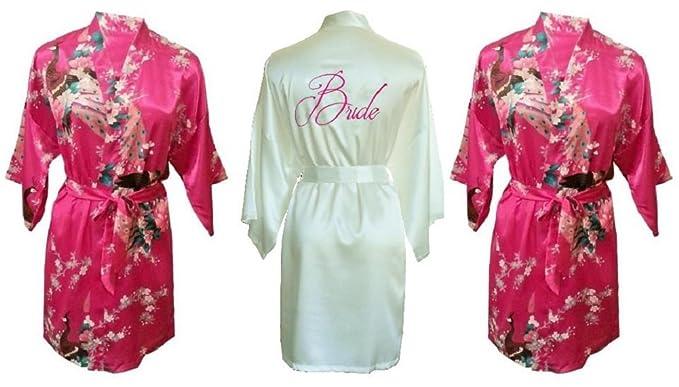 Fete Fabulous Juego de 3 Satinado Kimono Bata/Robes- 1 Marfil Bordado Bride y