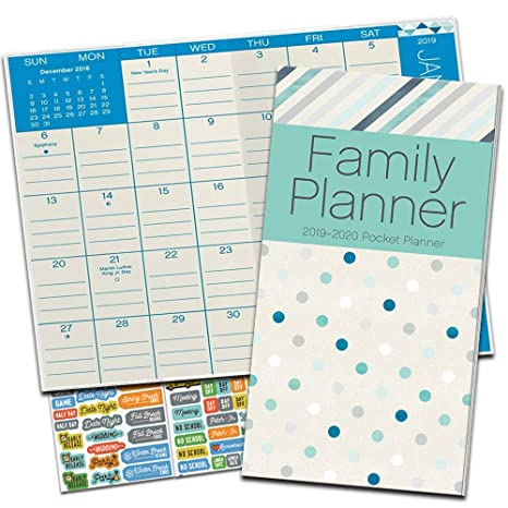 photograph regarding Family Planner Calendar named Relatives Planner Every month Pocket Planner 2019-2020 with DateWorks Calendar Stickers (2 Yr Household Planner Calendar Preset)