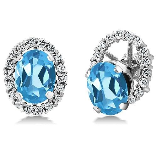 Gem Stone King 3.52 Ct Oval Swiss Topaz 925 Sterling Silver Women s Stud Earrings with Jackets