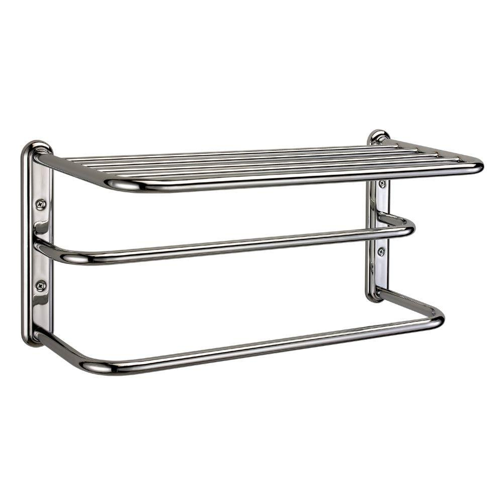 Gatco 21.6 in. W Exposed Screws Shelf with Spa Towel Rack and Bars in Chrome