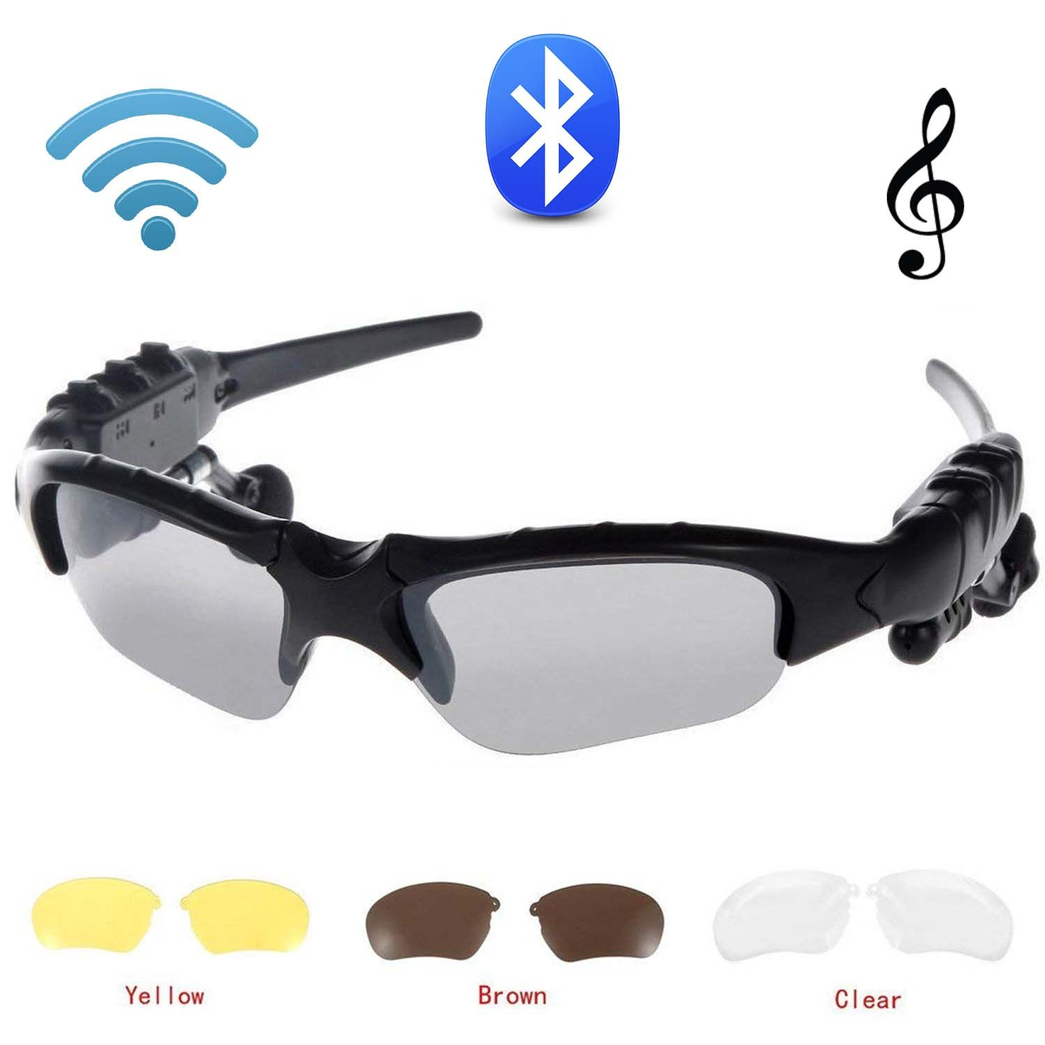 Jinserta Wireless Bluetooth Stereo Headphones Digital Lenses Sunglasses Music MP3Player Music Headphones with Camera for iPhone Android Smart Phones and all Devices with Bluetooth