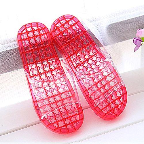 zapatillas de que E amantes deslizadores plásti las Cuarto gruesos frescas con deslizadores Zapatillas masaje bañan antideslizantes Los baño con femenina del cristalinas de verano Cómodo Casa las se los XTq5f