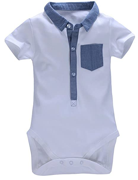 d83bfe653 mobycare Baby Boys Polo Shirt Short Sleeve Bodysuit Formal Onesie (White,  12months): Amazon.in: Baby