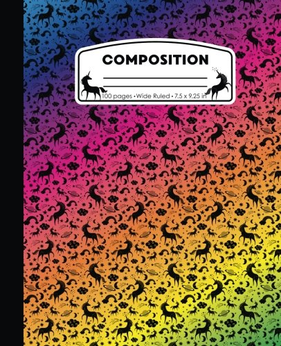 Composition: Unicorn Rainbow Marble Composition Notebook Wide Ruled 7.5 x 9.25 in, 100 pages book for girls, kids, school, students and teachers 3