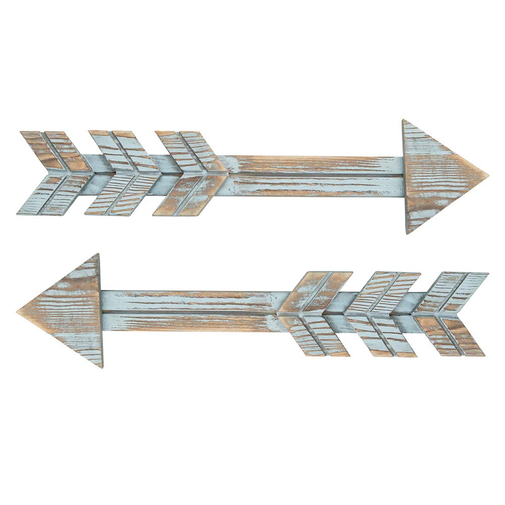 YXMYH Arrow Decor, Blue Wood Arrow Sign Wall Decor - Decorative Farmhouse Home Wall Hanging Decor, 2 Pack