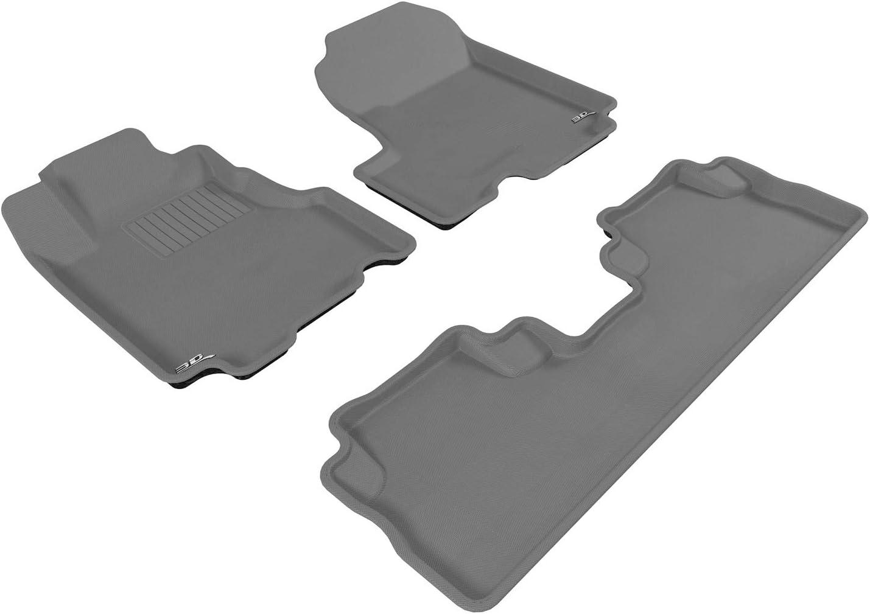 3D MAXpider All-Weather Floor Mats for Honda CR-V CRV 2007-2011 Custom Fit Car Floor Liners Kagu Series 1st Row, Black