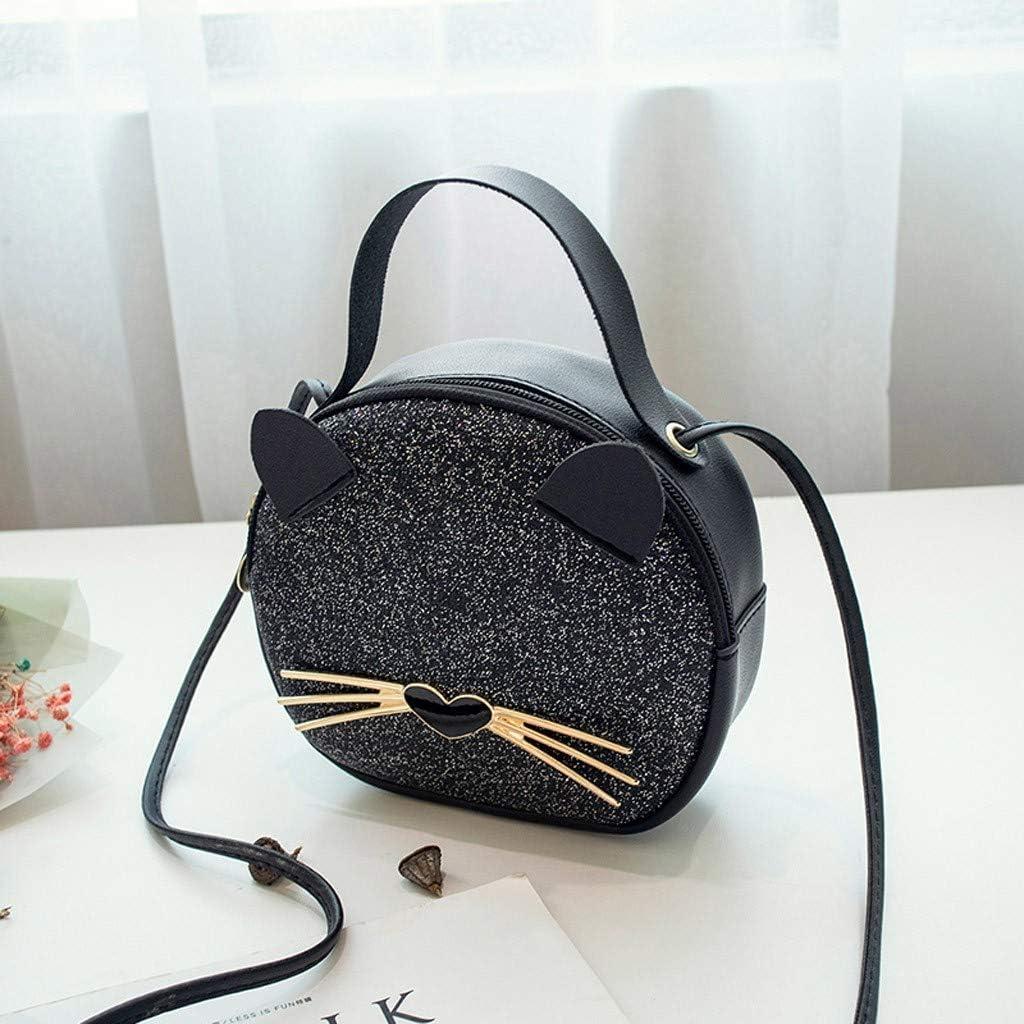 QUNANEN Womens Outdoor Solid Color Leather Sequin Shoulder Bag Messenger Bag Fashion Handbags