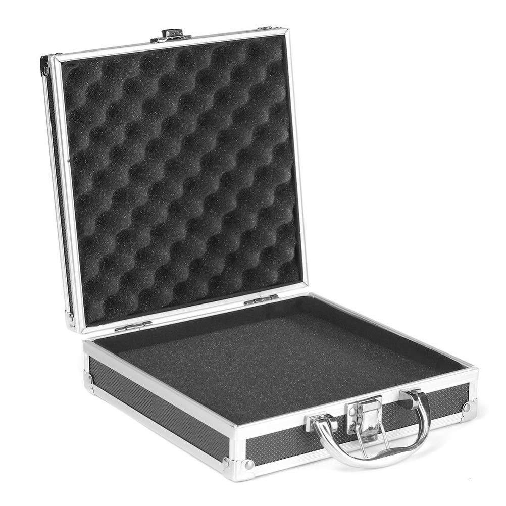 negro, 215 * 215 * 65mm KINJOHI Mini caja de herramientas de caja de vuelo de aluminio Caja de almacenamiento de aluminio peque/ña port/átil para transporte de viaje Craftsman