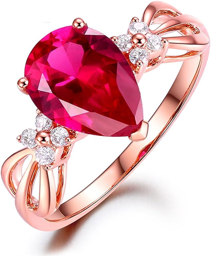 Kardy Moda Elegante Mujer's Rosa Turmalina Piedra preciosa Sólido 14K Oro rosa Diamante Anillo Conjuntos