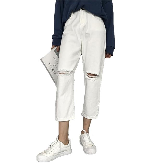 Amazon.com: Agujero Jeans mujeres Loose 乞丐 coreano ...