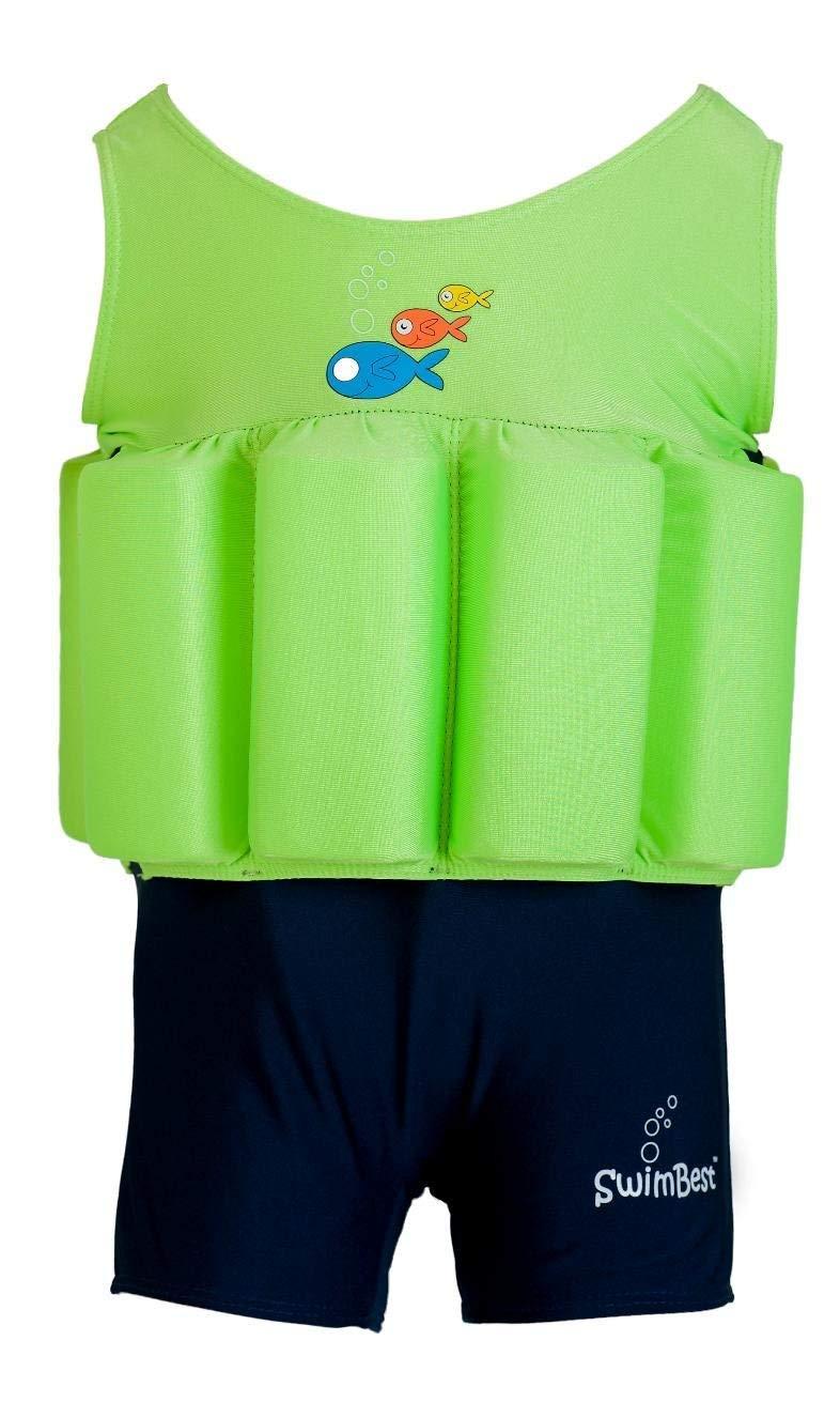 Traje de baño - Con flotadores ajustables - Lima / Azul marino ...