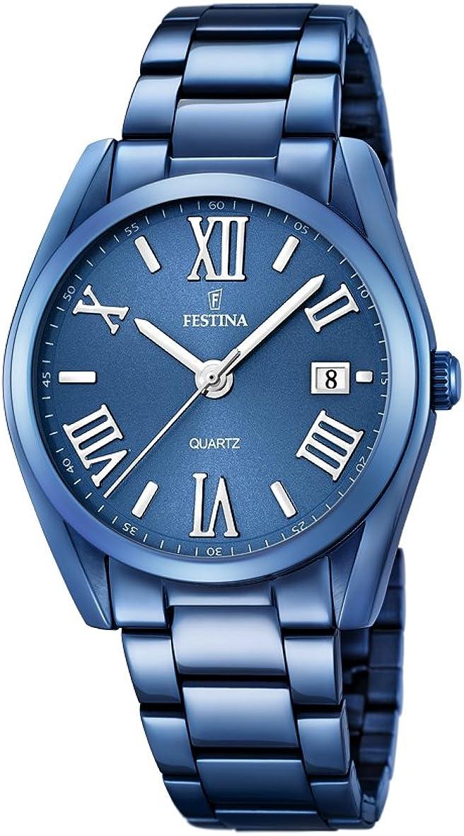 Festina-orologio da donna al quarzo con display analogico e braccialetto in acciaio inox, blu, f16864/3