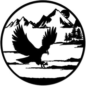 Nachic Wall Metal Wall Art Decor Bald Eagle in Mountain Wall Hanging Contemporary Metal Sculpture Artwork for Rustic Farmhouse Cabin Decorations Home Office Wall Decor