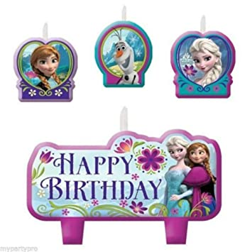 Amazoncom Disneys FROZEN Birthday Cake Candle Set Party Supplies