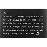 Birthday Gifts for Dad from Daughter Fathers Day, Dads Christmas Present, Engraved Wallet Insert for Father (Black, Gifts for