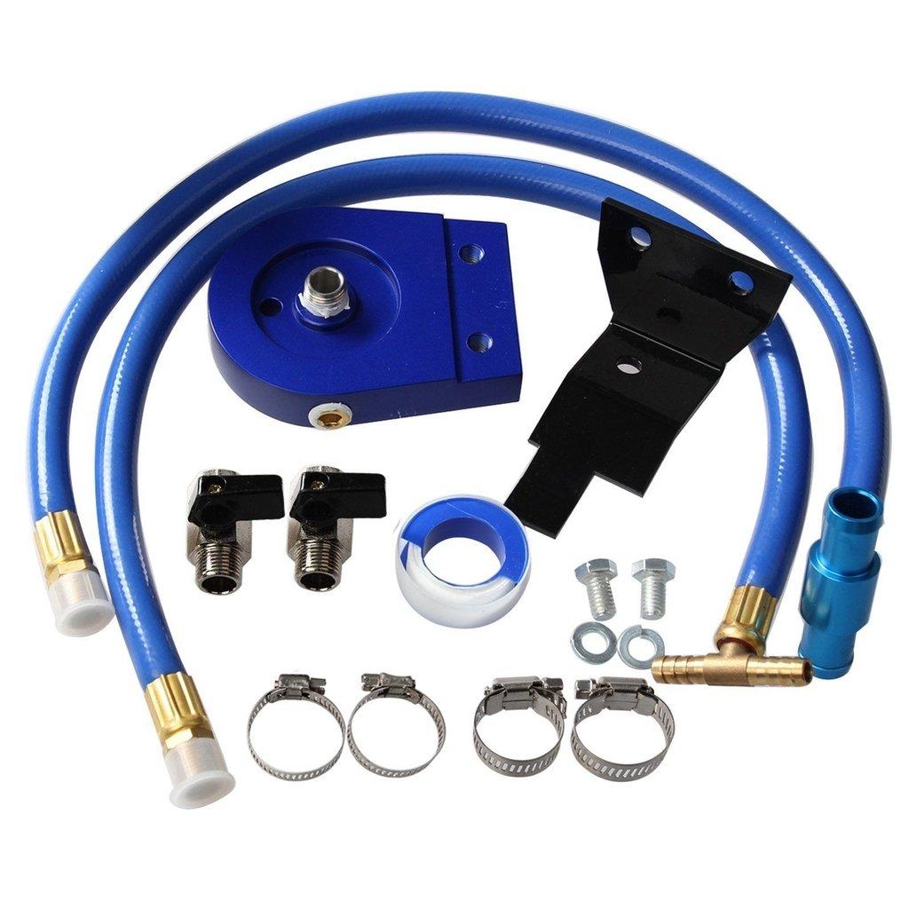 Black Coolant Filtration Filter Kit For 03-07 Ford V8 6.0L Powerstroke Diesel