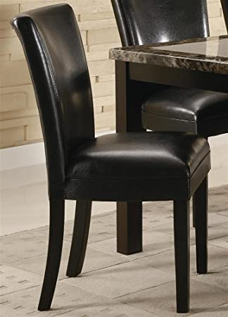 Set of 2 Parson Dining Chairs in Brown Faux Leather & Amazon.com - Set of 2 Parson Dining Chairs in Brown Faux Leather ...