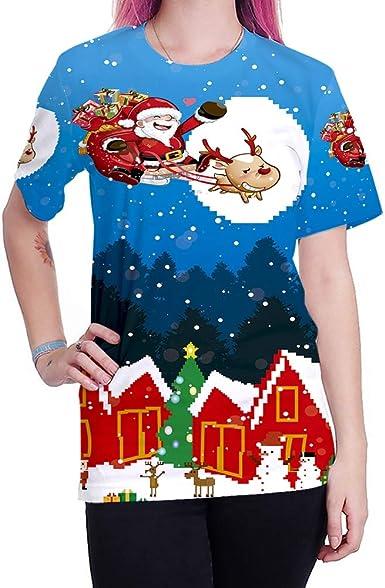 Papá Noel Imprimió La Camiseta para La Navidad, Camisa Superior Unisex Dress-Up Navidad Creador De La Sensación: Amazon.es: Ropa y accesorios