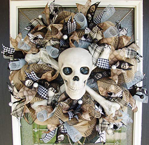 CLEARANCE Light Up Pirate Skeleton Skull Crossbones Front Door Wreath, Halloween Porch Yard Prop, Festival, Luxury High End Fancy luxe, Handcrafted ()
