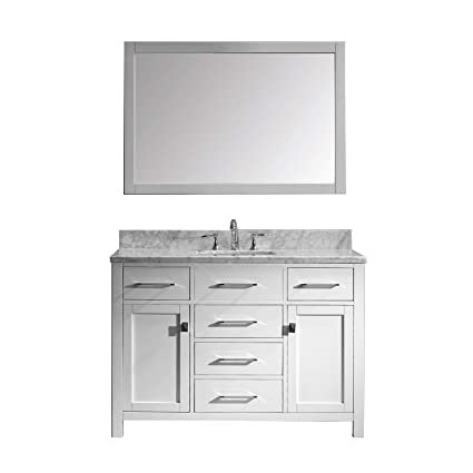 534b262eb8f Virtu USA Caroline 48 inch Single Sink Bathroom Vanity Set in White w   Square Undermount