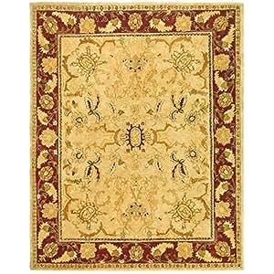 Safavieh TJM121A-6 Taj Mahal Collection Handmade Sage and Red Wool Area Rug, 5-Feet 6-Inch by 8-Feet 6-Inch