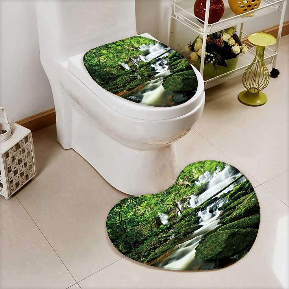 Analisahome Lid Toilet Cover waterfall in thai national park In the deep forest on mountain. Machine-Washable