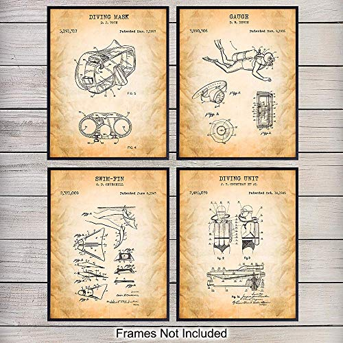 Scuba Diving Pictures - Scuba Patent Art Prints - Vintage Diving Equipment Wall Art Poster Set - Chic Rustic Home Decor for Game Room, Man Cave, Beach House, Living Room, Office, Bedroom, Gift for Divers, 8x10 Photo Unframed