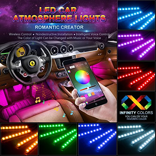 - wsiiroon Car LED Strip Lights, 4pcs 48 LED Bluetooth App Controller Interior Lights Multi Color Music Car Strip Light Under Dash Lighting Kit with Sound Active Function for iPhone Android Smart Phone