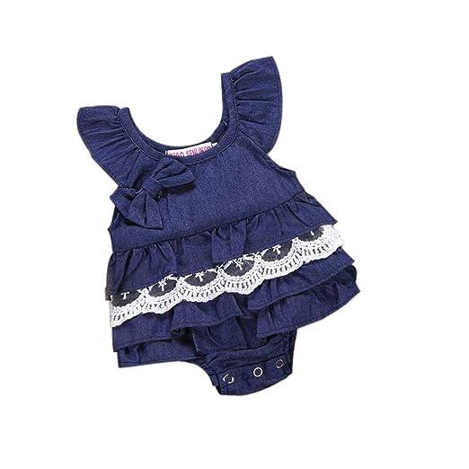 10ca17c9303f Kimanli Baby Romper Newborn Kids Girls Denim Lace Bowknot Sleeveless  Jumpsuit (6 Month