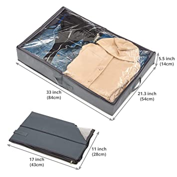 Amazon.com: EZOWare 2 Pack Underbed Under Bed Closet Fabric Storage Organizer Box Container Holder for Clothes, Purses, Shoes, Blankets -Gray: Home & ...