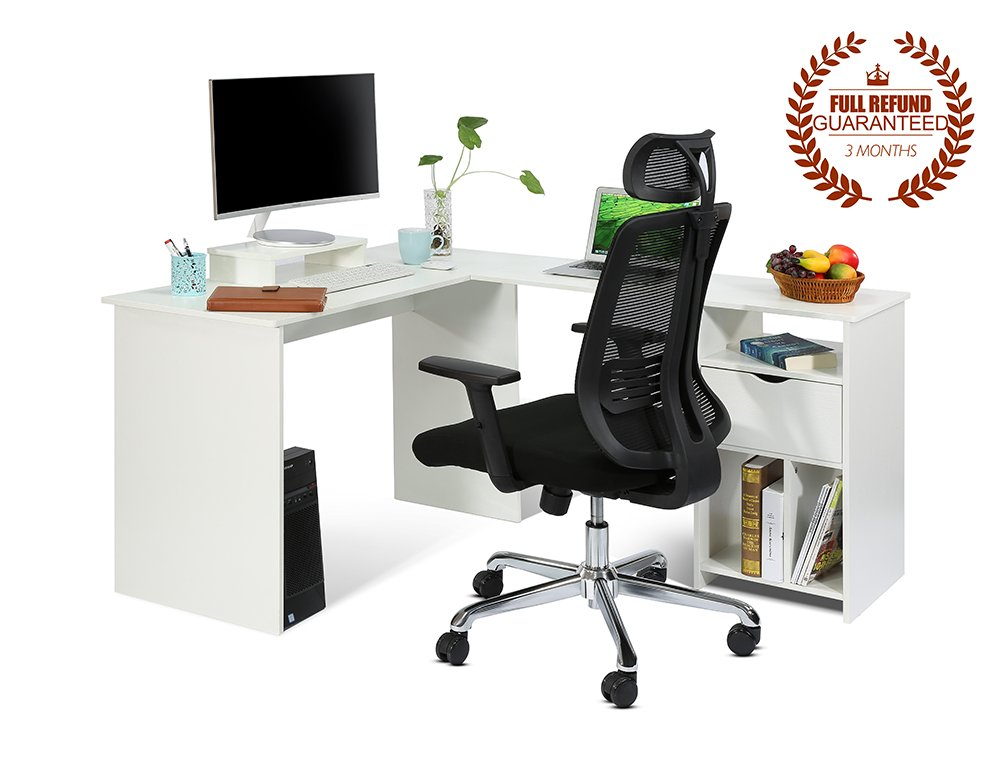 Ej. Life L-Shaped Office Computer Desk, Large Corner PC Table with monitor stand, White Wood Grain(2 Carton Packages)