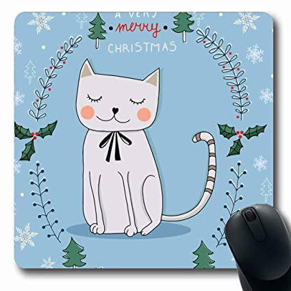Amazon Com Ahawoso Mousepads Cute Cat Christmas Drawing Abstract