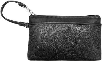 4f40f5c0d428 ili New York 6577 Embossed Leather Wristlet Handbag with RFID Blocking  Lining