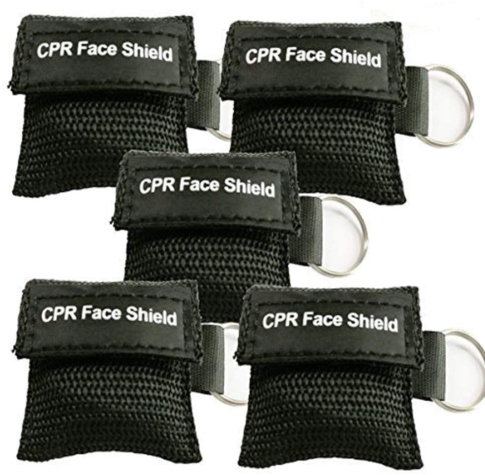 Pack of 5pcs CPR Face Shield Mask Keychain Ring Emergency Kit CPR Face Shields for First Aid or CPR Training (Black-5)