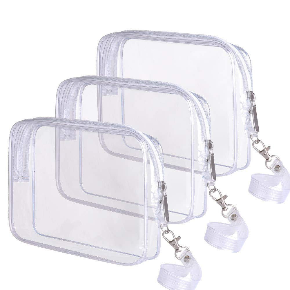 3 PACK TSA Approved Toiletry Bag Ariza Clear Travel Cosmetics Bags With Handle Strap Airline Compliant 3-1-1 Liquids Toiletries Kit Quart Size Carry-On Luggage Pouch for Women and Men (CLEAR)