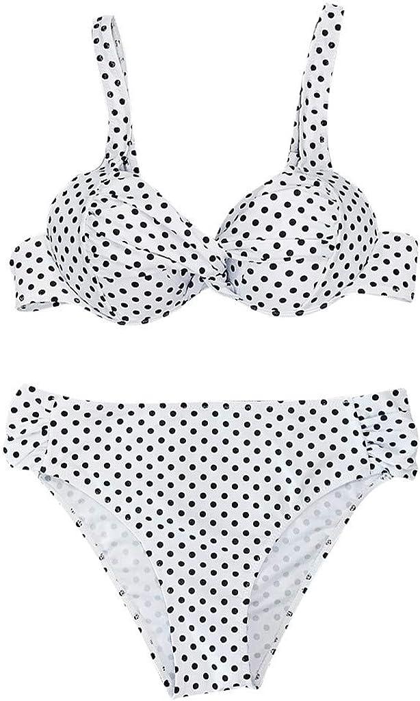 Womens Push Up Two Piece Brazilian Print Wave Point Padded Swimwear Bathing Suits Bikini