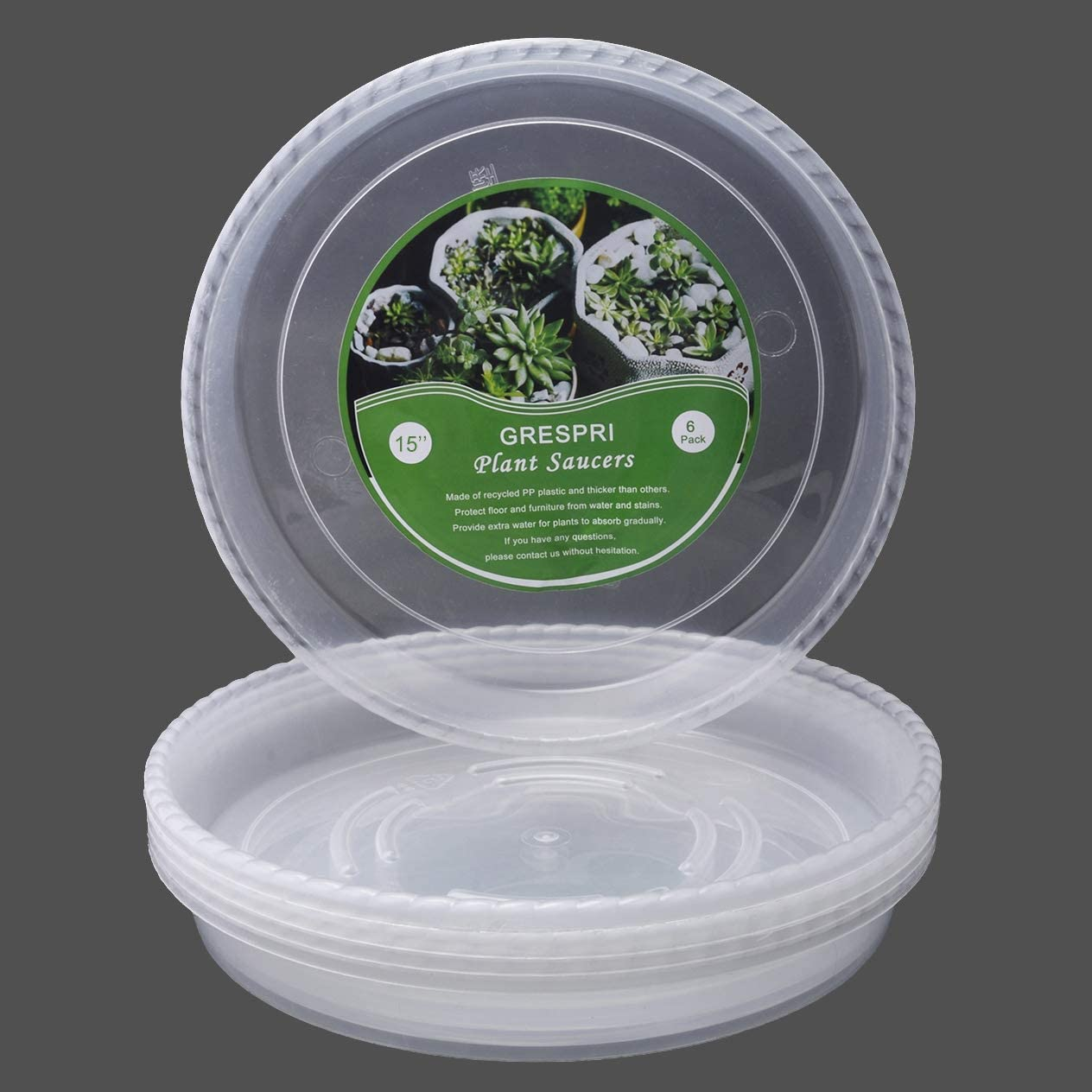 GRESPRI 6 Packs 15 Inches Premium Large Plant Saucers in Thick PP Plastic, Heavy Duty Flower Pot Saucers, Clear Indoor/Outdoor Round Plant Tray and Drip Pan Waterproof for Drips and Excess Water.