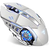 Uciefy T85 Rechargeable Wireless Mouse, 2.4G Ergonomic Silent Gaming Mice Portable Optical with USB Receiver, 3…