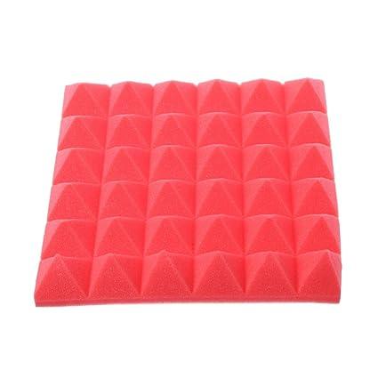 Exing 30 x 30 x 5 cm pirámide acústica para el hogar estudio de tratamiento a prueba de sonido, accesorios de absorción de espuma, cuña, rojo