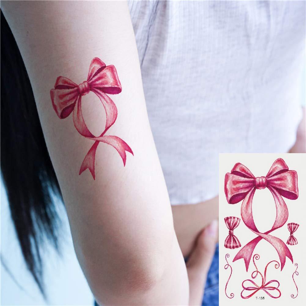 Oottati 2 Hojas Pequeño Lindo Tatuaje Temporal Tattoo Arco Rosa ...